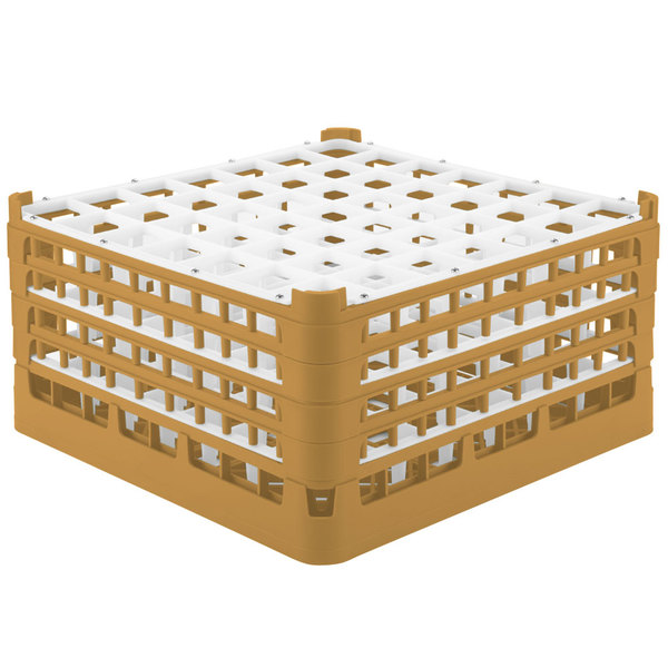 """Vollrath 52788 Signature Full-Size Gold 49-Compartment 9 1/16"""" XX-Tall Plus Glass Rack"""