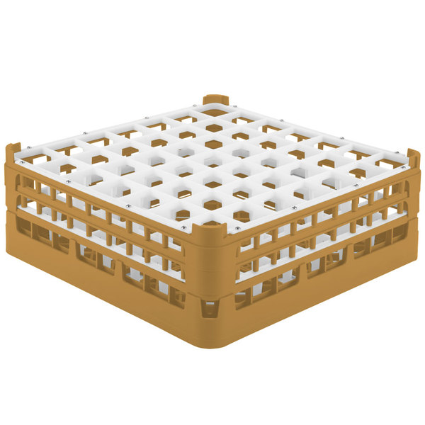 "Vollrath 52786 Signature Full-Size Gold 49-Compartment 6 1/4"" Tall Plus Glass Rack"
