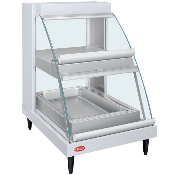 """Hatco GRCDH-1PD White 20"""" Glo-Ray Full Service Double Shelf Merchandiser with Humidity Controls - 1110W Main Image 1"""