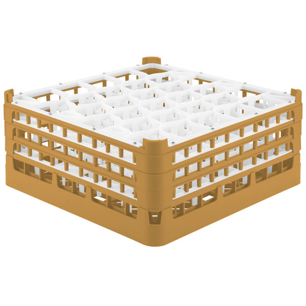 "Vollrath 52832 Signature Lemon Drop Full-Size Gold 30-Compartment 7 1/8"" X-Tall Glass Rack Main Image 1"