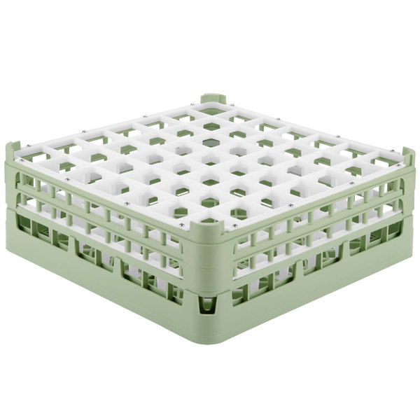 "Vollrath 52786 Signature Full-Size Light Green 49-Compartment 6 1/4"" Tall Plus Glass Rack"
