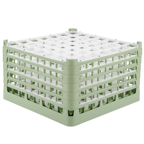 "Vollrath 52789 Signature Full-Size Light Green 49-Compartment 10 9/16"" XXX-Tall Plus Glass Rack"