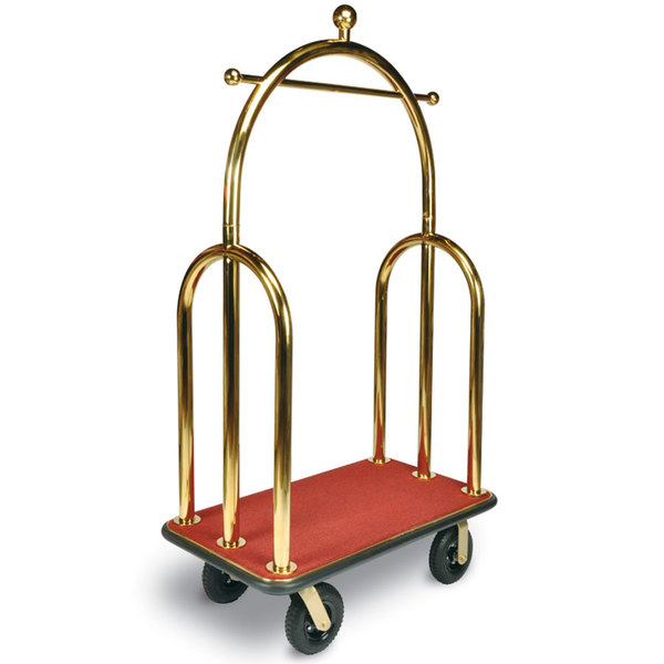 "CSL 3533BK-030-RED Trident Style Titanium Gold Bellman's Cart with Red Carpet Base, Black Bumper, Clothing Rail, and 8"" Black Pneumatic Casters - 45"" x 25"" x 77"""
