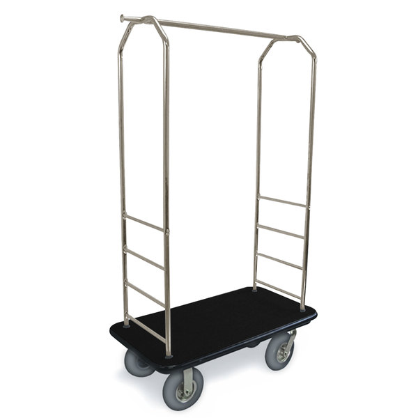 "CSL 2099BK-040 Stainless Steel Finish Bellman's Cart with Rectangular Black Carpet Base, Black Bumper, Clothing Rail, and 5"" Gray Polyurethane Casters - 43"" x 23"" x 72 1/2"" Main Image 1"