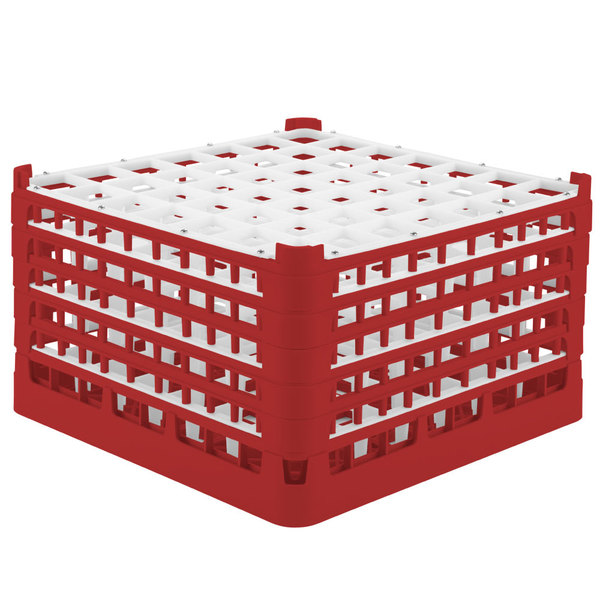 """Vollrath 52789 Signature Full-Size Red 49-Compartment 10 9/16"""" XXX-Tall Plus Glass Rack"""