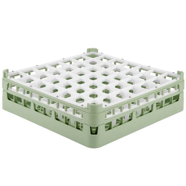 """Vollrath 52785 Signature Full-Size Light Green 49-Compartment 4 13/16"""" Medium Plus Glass Rack"""