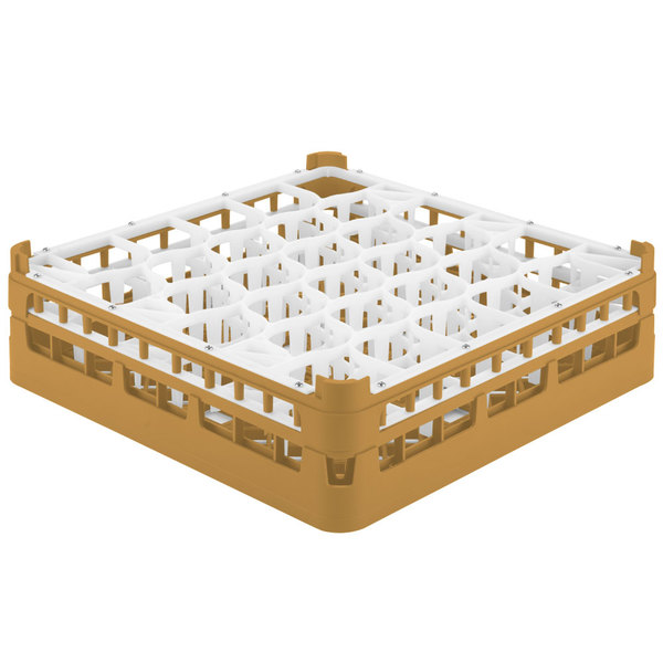 """Vollrath 52813 Signature Lemon Drop Full-Size Gold 30-Compartment 4 13/16"""" Medium Plus Glass Rack"""