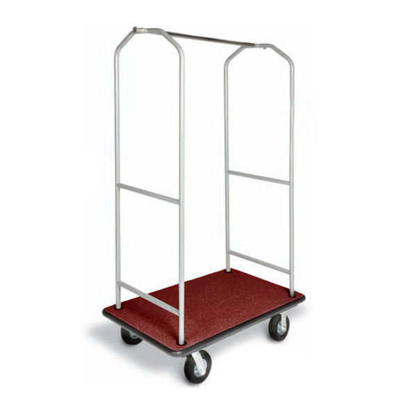 "CSL 2005BK-60 Silver Finish Economy Bellman's Cart with Rectangular Red Carpet Base, Black Bumper, Clothing Rail, and 6"" Black Polyurethane Casters - 43"" x 23"" x 72 1/2"" Main Image 1"