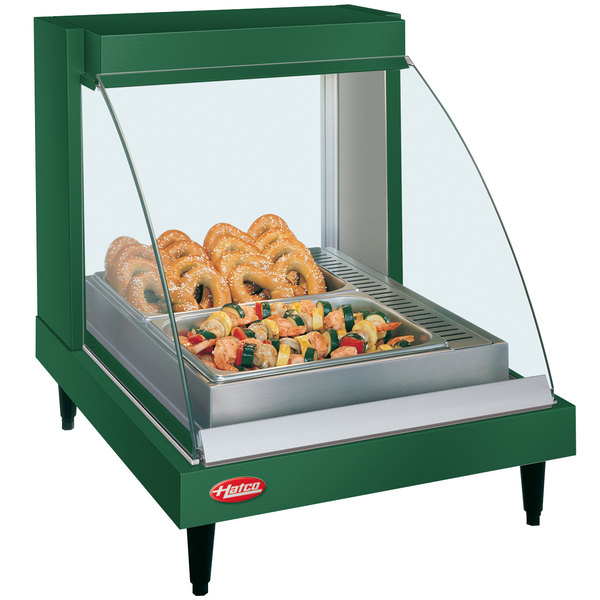"Hatco GRCDH-1P Green 20"" Glo-Ray Full Service Single Shelf Merchandiser with Humidity Controls - 660W"