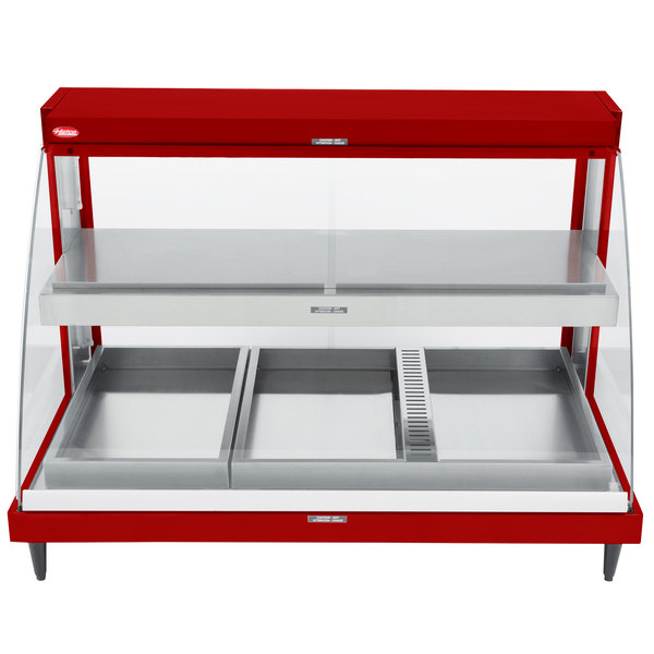 "Hatco GRCDH-3PD Red 46"" Glo-Ray Full Service Double Shelf Merchandiser with Humidity Controls - 1960W"