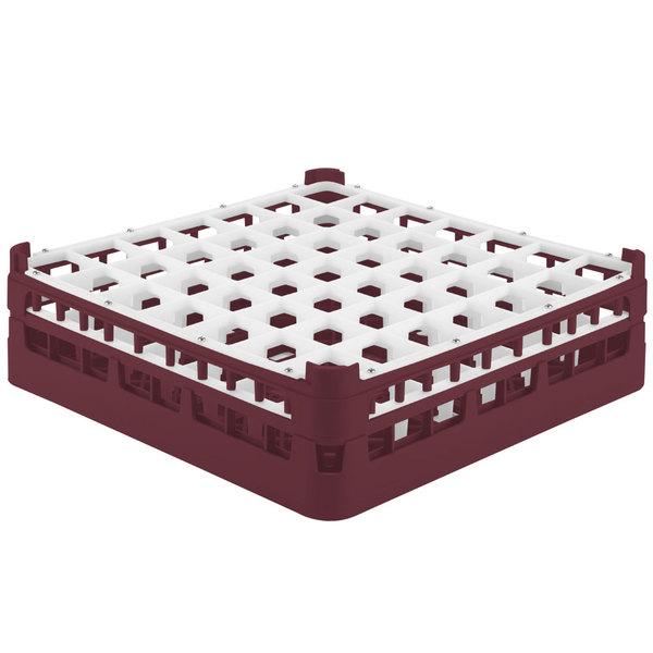 """Vollrath 52785 Signature Full-Size Burgundy 49-Compartment 4 13/16"""" Medium Plus Glass Rack"""