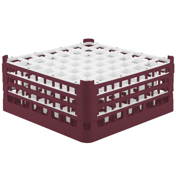 """Vollrath 52787 Signature Full-Size Burgundy 49-Compartment 7 11/16"""" X-Tall Plus Glass Rack"""