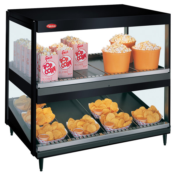 "Hatco GRSDS/H-36D Black Glo-Ray 36"" Horizontal / Slanted Double Shelf Merchandiser"