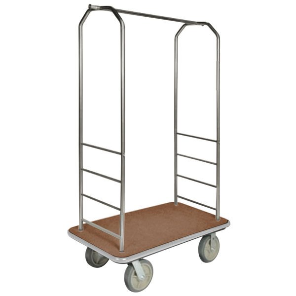 """CSL 2099GY-040 Stainless Steel Finish Bellman's Cart with Rectangular Tan Carpet Base, Gray Bumper, Clothing Rail, and 5"""" Gray Polyurethane Casters - 43"""" x 23"""" x 72 1/2"""""""