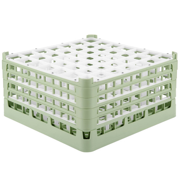 "Vollrath 52788 Signature Full-Size Light Green 49-Compartment 9 1/16"" XX-Tall Plus Glass Rack"