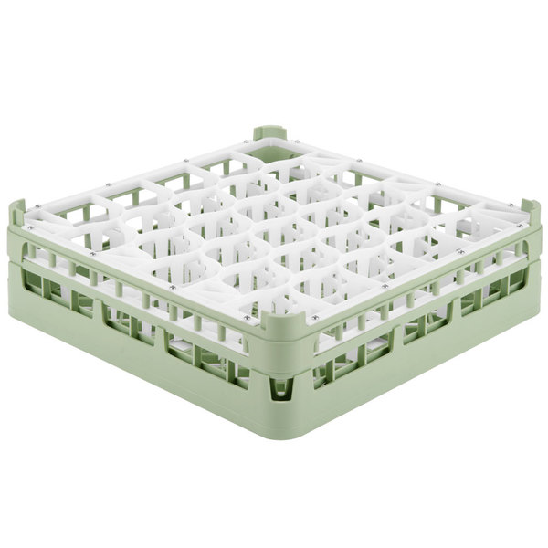 "Vollrath 52813 Signature Lemon Drop Full-Size Light Green 30-Compartment 4 13/16"" Medium Plus Glass Rack"