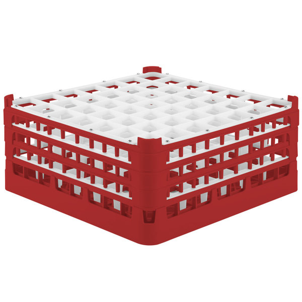 "Vollrath 52787 Signature Full-Size Red 49-Compartment 7 11/16"" X-Tall Plus Glass Rack Main Image 1"