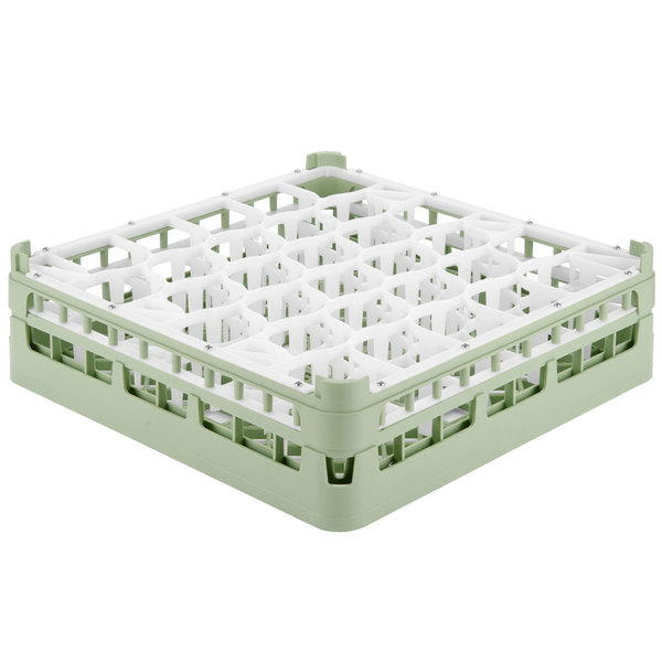 "Vollrath 52812 Signature Lemon Drop Full-Size Light Green 30-Compartment 4 5/16"" Medium Glass Rack Main Image 1"