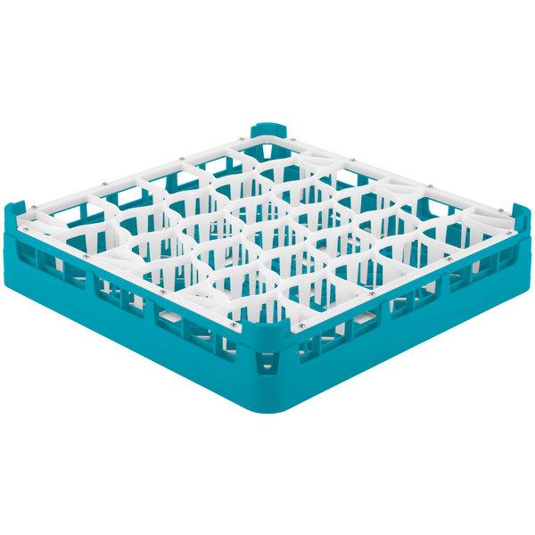"Vollrath 52811 Signature Lemon Drop Full-Size Light Blue 30-Compartment 3 1/4"" Short Plus Glass Rack"