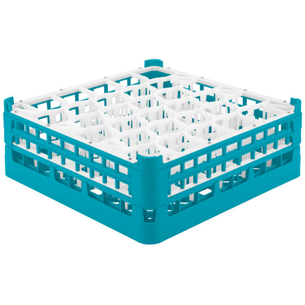 "Vollrath 52817 Signature Lemon Drop Full-Size Light Blue 30-Compartment 6 1/4"" Tall Plus Glass Rack Main Image 1"