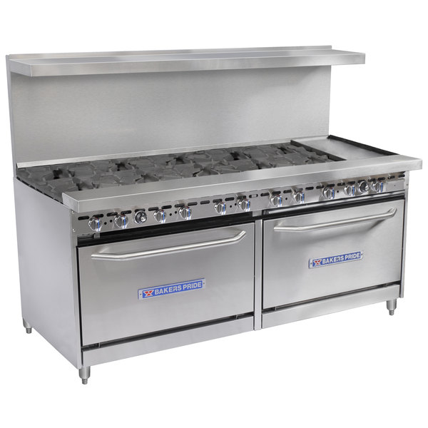 """Bakers Pride Restaurant Series 72-BP-10B-G12-S30 Natural Gas 10 Burner Range with Two Standard 30"""" Ovens and 12"""" Griddle"""