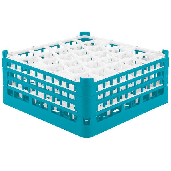 "Vollrath 52832 Signature Lemon Drop Full-Size Light Blue 30-Compartment 7 1/8"" X-Tall Glass Rack"