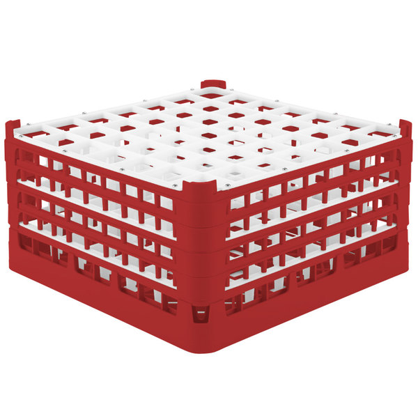 """Vollrath 52788 Signature Full-Size Red 49-Compartment 9 1/16"""" XX-Tall Plus Glass Rack"""