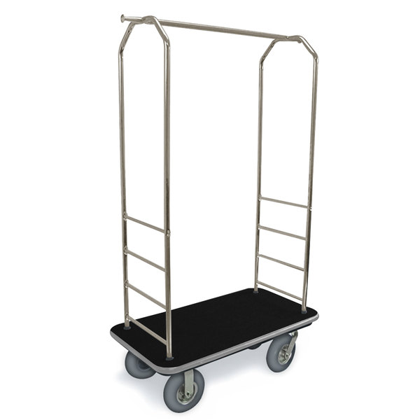 "CSL 2099GY-020 Stainless Steel Finish Bellman's Cart with Rectangular Black Carpet Base, Gray Bumper, Clothing Rail, and 8"" Gray Pneumatic Casters - 43"" x 23"" x 72 1/2"""