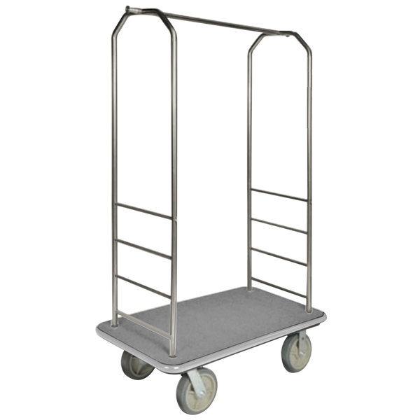 "CSL 2099GY-040 Stainless Steel Finish Bellman's Cart with Rectangular Gray Carpet Base, Gray Bumper, Clothing Rail, and 5"" Gray Polyurethane Casters - 43"" x 23"" x 72 1/2"" Main Image 1"