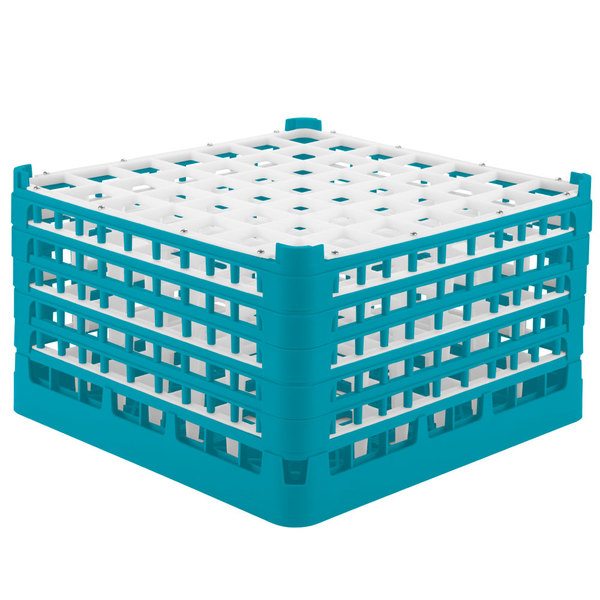 "Vollrath 52789 Signature Full-Size Light Blue 49-Compartment 10 9/16"" XXX-Tall Plus Glass Rack"