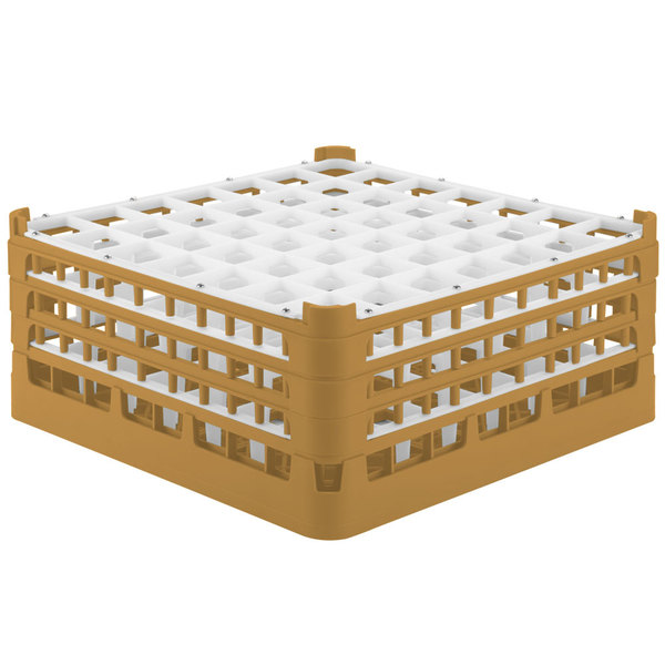 "Vollrath 52787 Signature Full-Size Gold 49-Compartment 7 11/16"" X-Tall Plus Glass Rack"