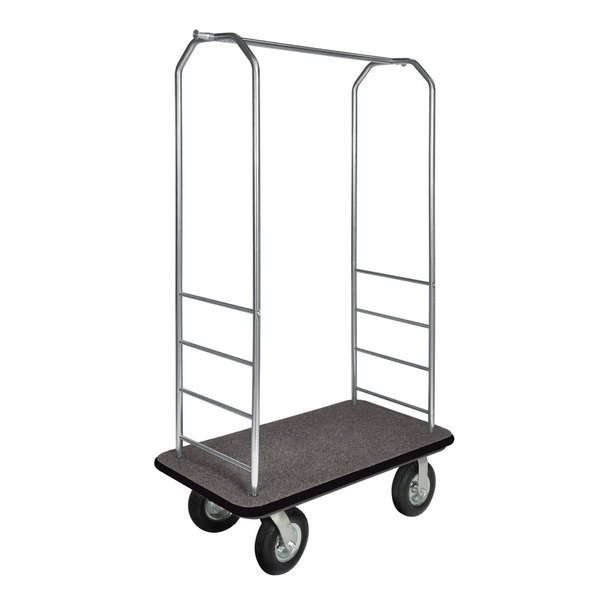 """CSL 2099BK-010 Stainless Steel Finish Bellman's Cart with Rectangular Gray Carpet Base, Black Bumper, Clothing Rail, and 8"""" Black Pneumatic Casters - 43"""" x 23"""" x 72 1/2"""""""