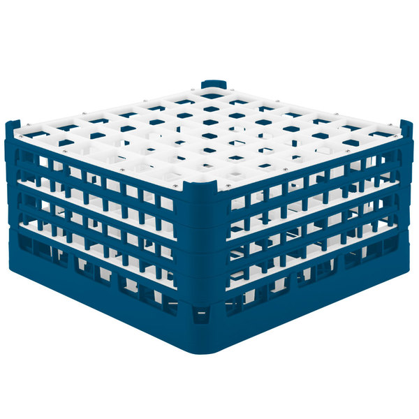 "Vollrath 52788 Signature Full-Size Royal Blue 49-Compartment 9 1/16"" XX-Tall Plus Glass Rack"