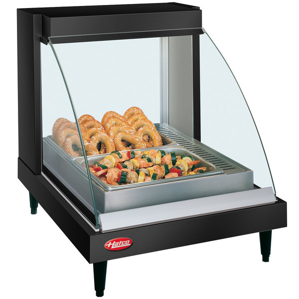 "Hatco GRCDH-1P Black 20"" Glo-Ray Full Service Single Shelf Merchandiser with Humidity Controls - 660W"