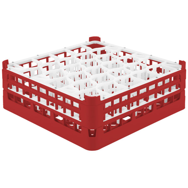 """Vollrath 52816 Signature Lemon Drop Full-Size Red 30-Compartment 5 11/16"""" Tall Glass Rack"""