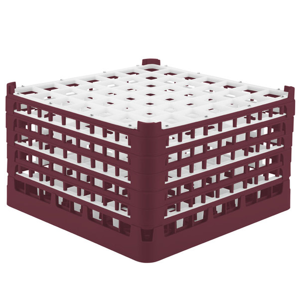 "Vollrath 52789 Signature Full-Size Burgundy 49-Compartment 10 9/16"" XXX-Tall Plus Glass Rack Main Image 1"
