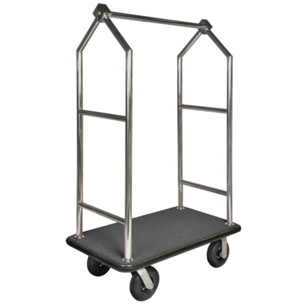 "CSL 2699BK-010-GRY Stainless Steel Finish Heavy Duty Bellman's Cart with Rectangular Gray Carpet Base, Black Bumper, Angled Top Clothing Rail, and 8"" Black Pneumatic Casters - 44"" x 24"" x 70"""
