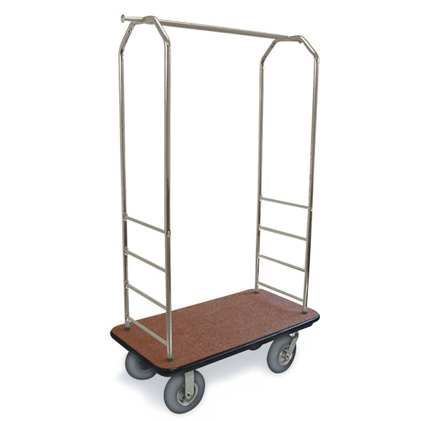 "CSL 2099BK-040 Stainless Steel Finish Bellman's Cart with Rectangular Tan Carpet Base, Black Bumper, Clothing Rail, and 5"" Gray Polyurethane Casters - 43"" x 23"" x 72 1/2"""