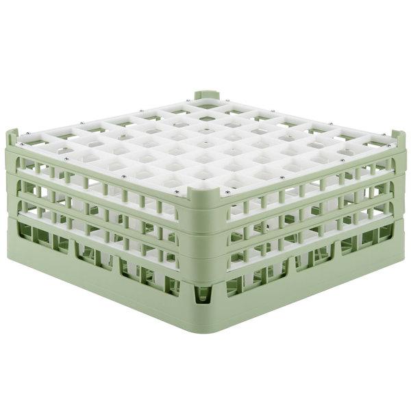 "Vollrath 52787 Signature Full-Size Light Green 49-Compartment 7 11/16"" X-Tall Plus Glass Rack"