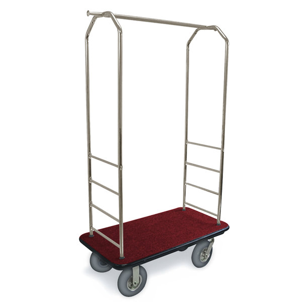 """CSL 2099BK-040 Stainless Steel Finish Bellman's Cart with Rectangular Red Carpet Base, Black Bumper, Clothing Rail, and 5"""" Gray Polyurethane Casters - 43"""" x 23"""" x 72 1/2"""""""