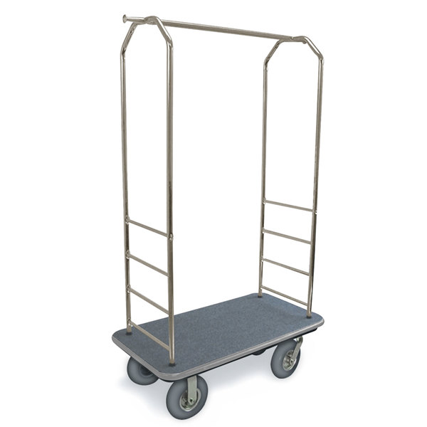 "CSL 2099GY-020 Stainless Steel Finish Bellman's Cart with Rectangular Gray Carpet Base, Gray Bumper, Clothing Rail, and 8"" Gray Pneumatic Casters - 43"" x 23"" x 72 1/2"""