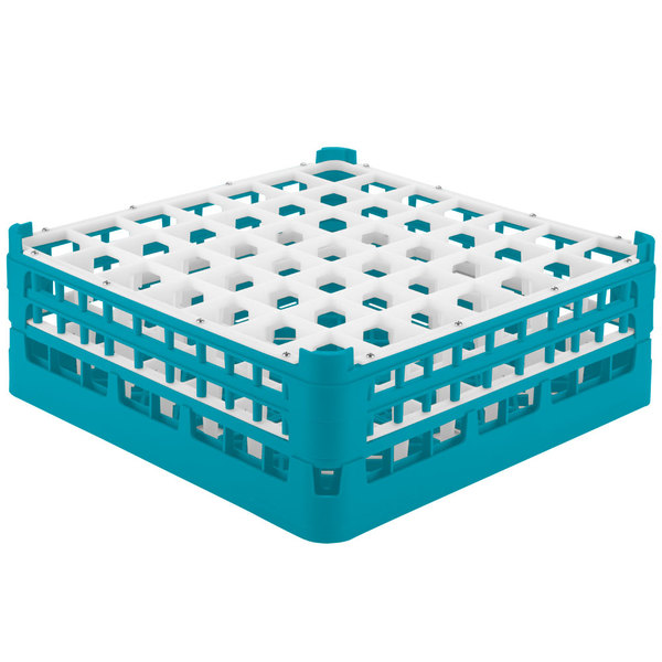 """Vollrath 52786 Signature Full-Size Light Blue 49-Compartment 6 1/4"""" Tall Plus Glass Rack Main Image 1"""