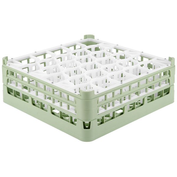 "Vollrath 52817 Signature Lemon Drop Full-Size Light Green 30-Compartment 6 1/4"" Tall Plus Glass Rack Main Image 1"