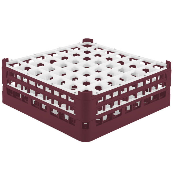 "Vollrath 52786 Signature Full-Size Burgundy 49-Compartment 6 1/4"" Tall Plus Glass Rack"