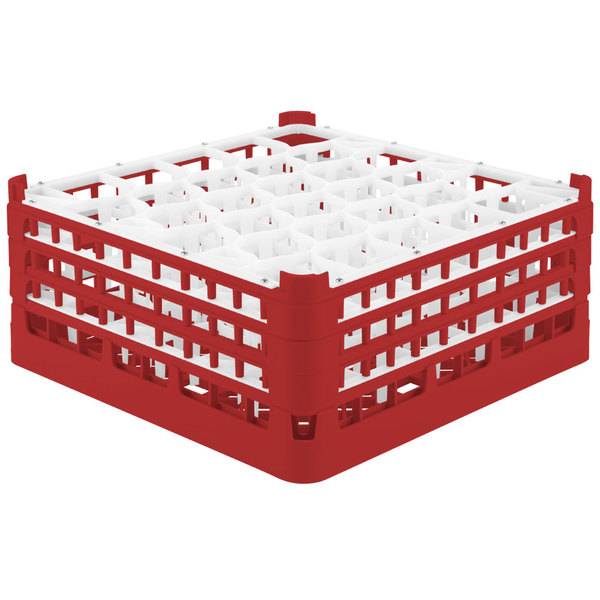 "Vollrath 52832 Signature Lemon Drop Full-Size Red 30-Compartment 7 1/8"" X-Tall Glass Rack"
