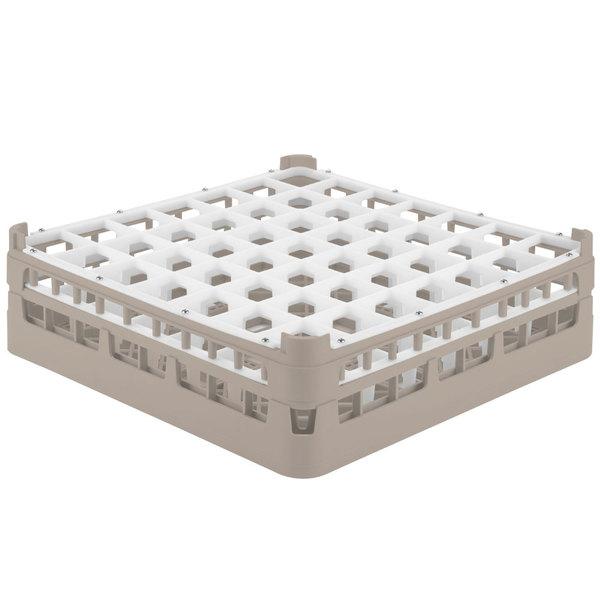 """Vollrath 52785 Signature Full-Size Beige 49-Compartment 4 13/16"""" Medium Plus Glass Rack"""