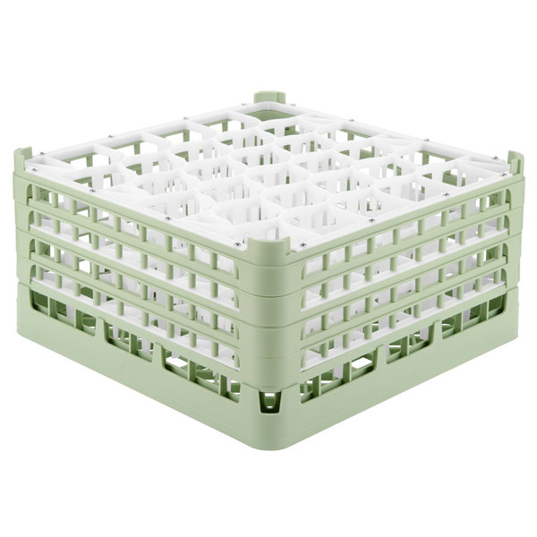 "Vollrath 52845 Signature Lemon Drop Full-Size Light Green 30-Compartment 8 1/2"" XX-Tall Glass Rack"