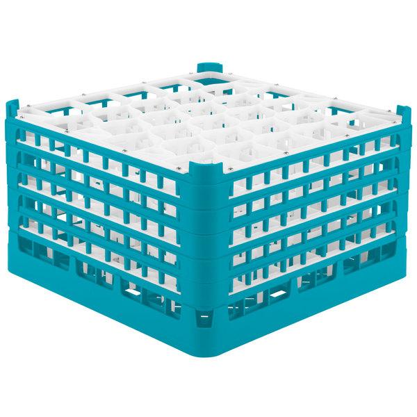 "Vollrath 52847 Signature Lemon Drop Full-Size Light Blue 30-Compartment 9 15/16"" XXX-Tall Glass Rack Main Image 1"