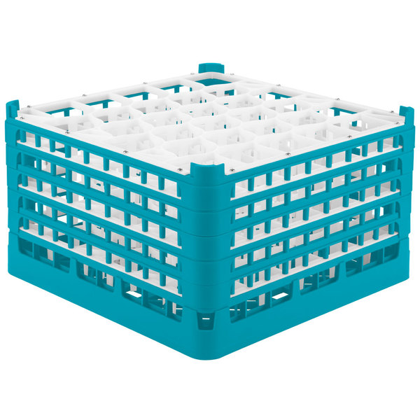 "Vollrath 52848 Signature Lemon Drop Full-Size Light Blue 30-Compartment 10 9/16"" XXX-Tall Plus Glass Rack Main Image 1"