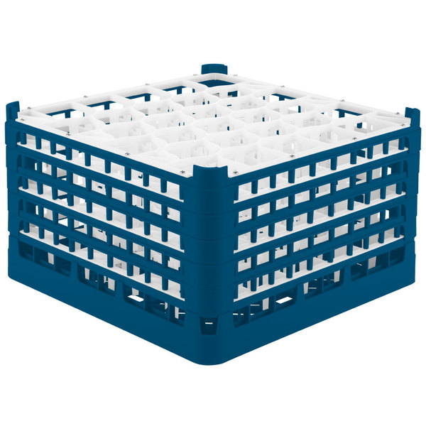 "Vollrath 52848 Signature Lemon Drop Full-Size Royal Blue 30-Compartment 10 9/16"" XXX-Tall Plus Glass Rack Main Image 1"